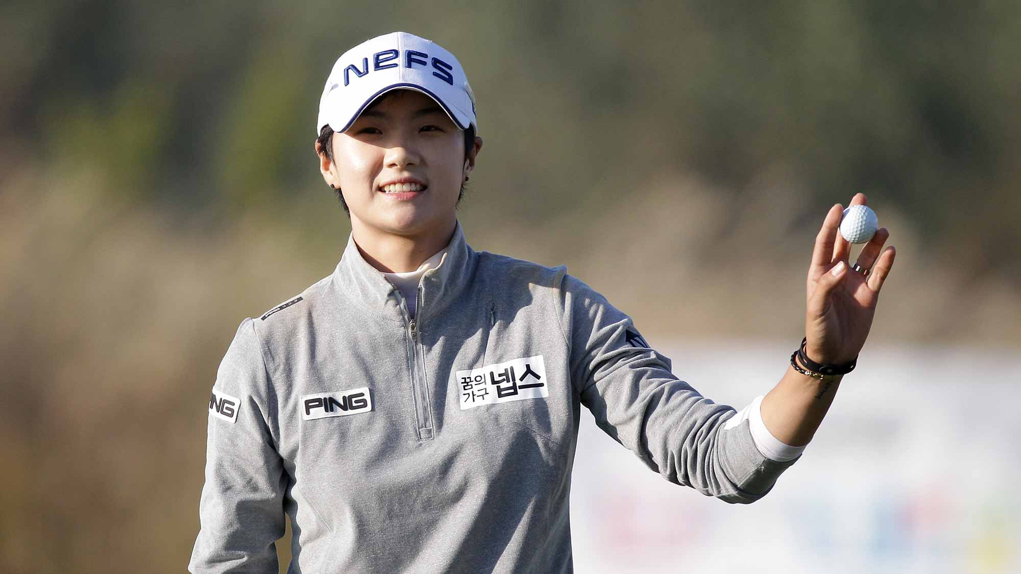Sung Hyun Park of South Korea reacts after a putt on the 18th hole during round three of the LPGA KEB Hana Bank