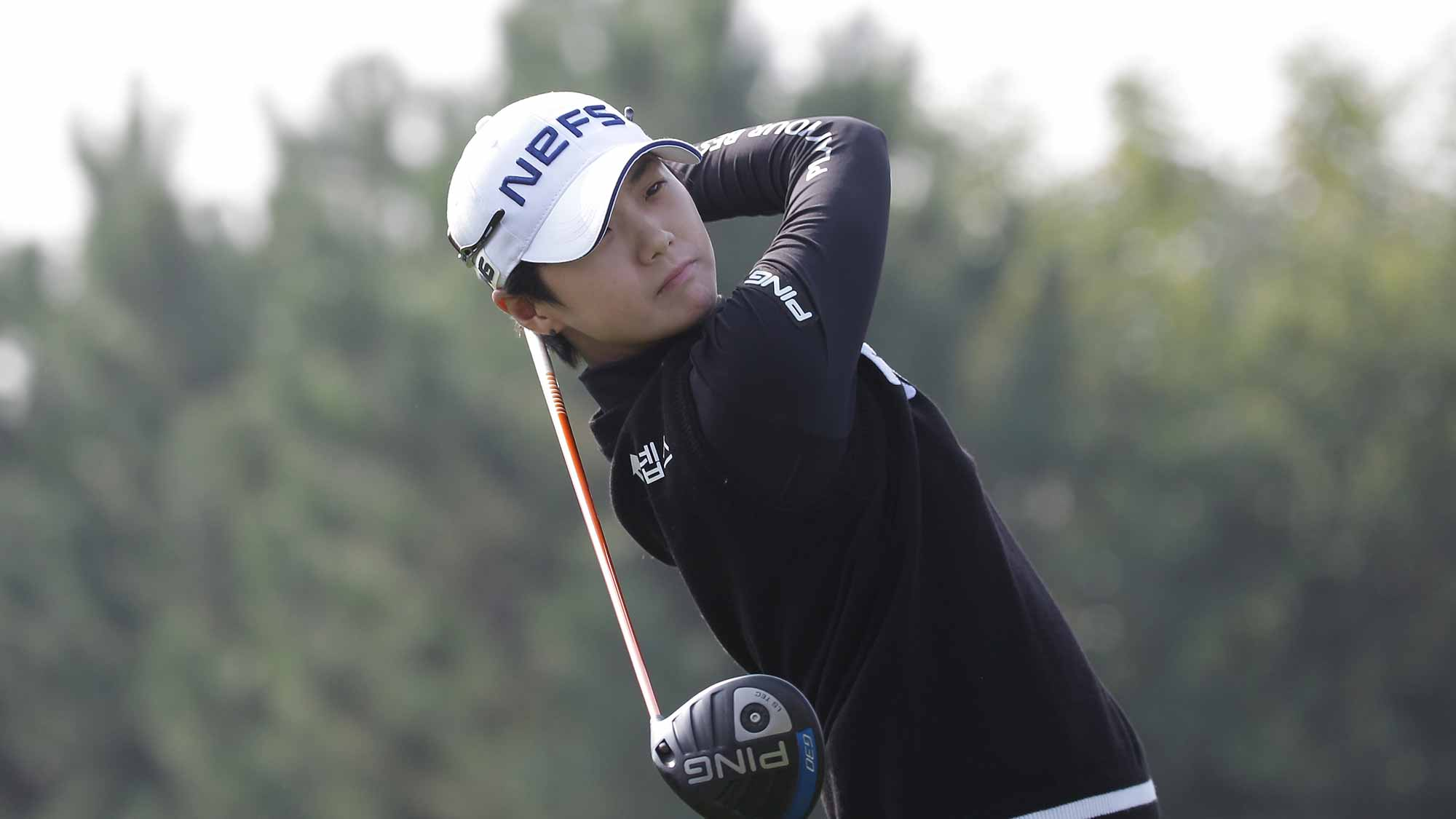 Sung Hyun Park of South Korea plays a tee shot on the 2nd green during round four of the LPGA KEB Hana Bank