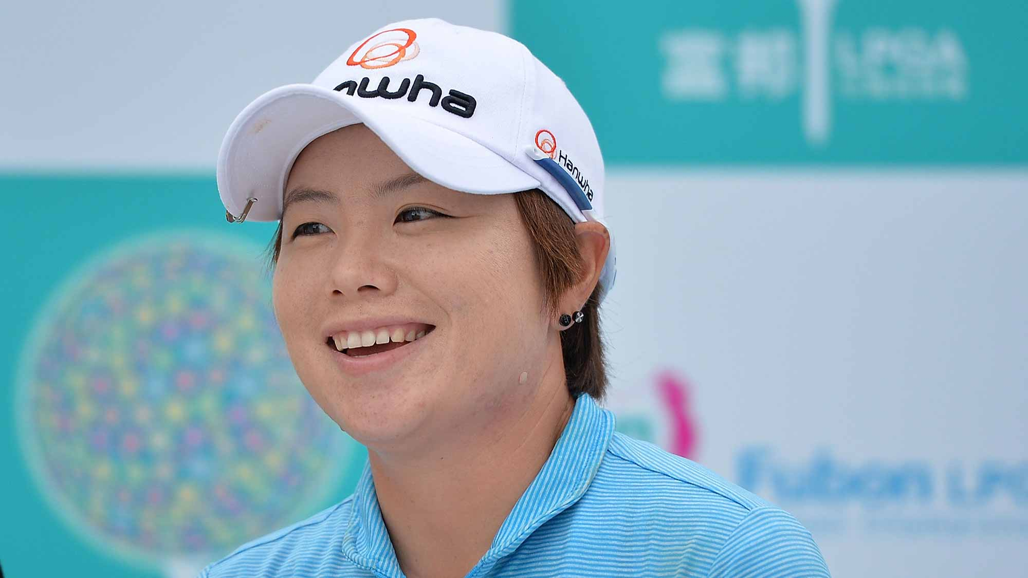 Eun-Hee Ji of South Korea interviews during the round one of 2015 Fubon LPGA Taiwan Championship at Miramar Golf & Country Club