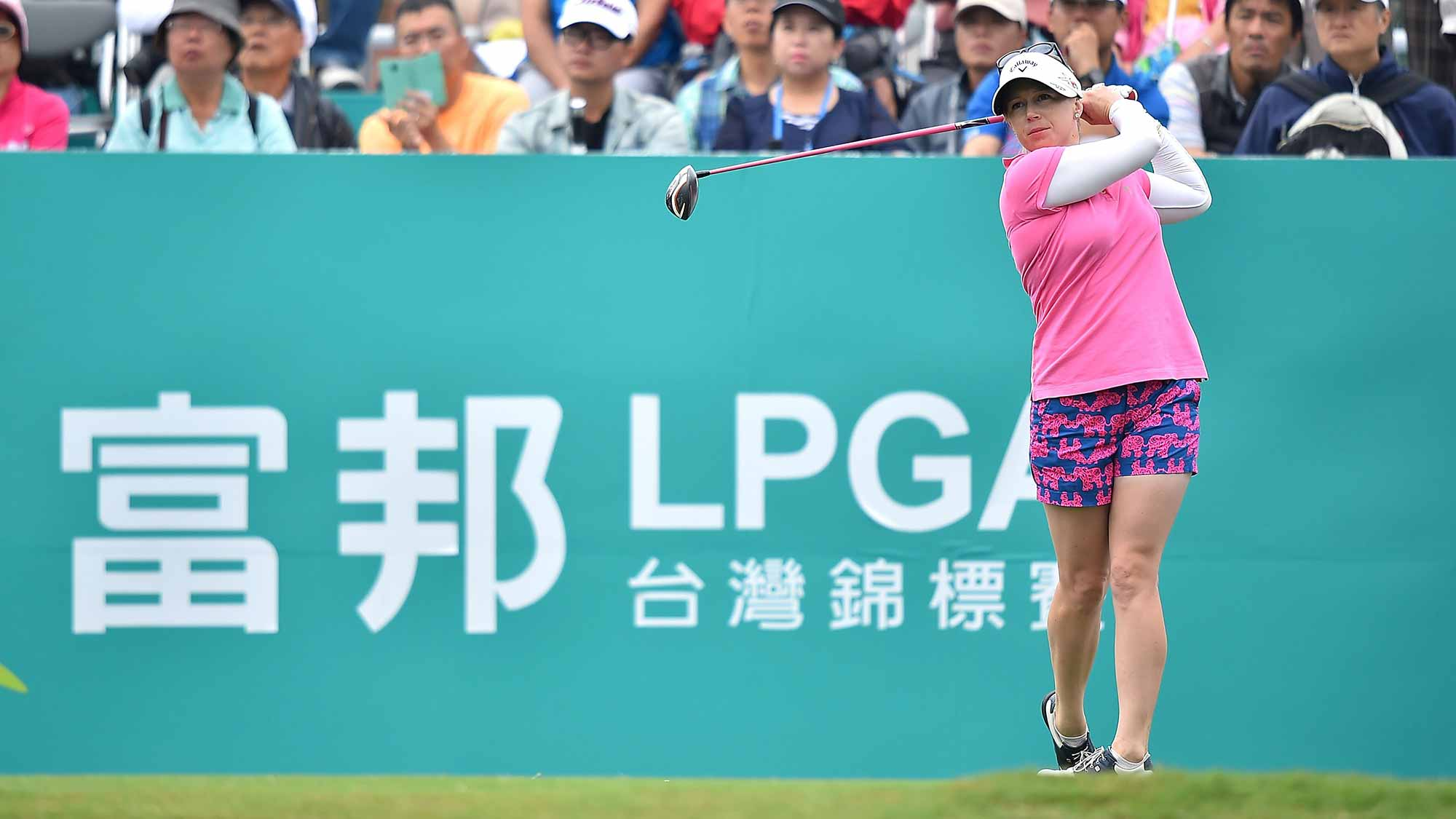 Morgan Pressel of the United States plays the shot during the round one of 2015 Fubon LPGA Taiwan Championship at Miramar Golf & Country Club