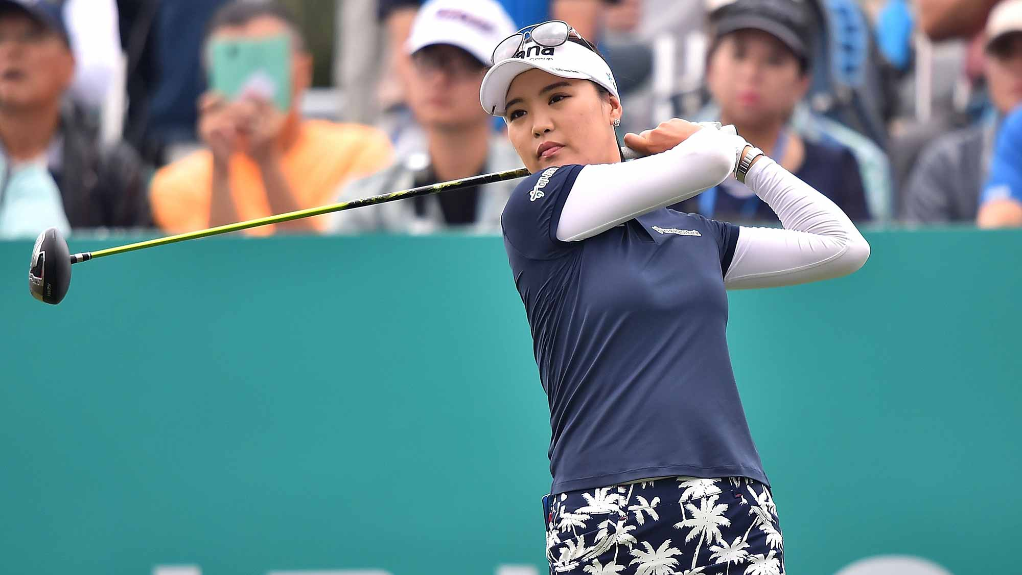 So Yeon Ryu of South Korea plays the shot during the round one of 2015 Fubon LPGA Taiwan Championship at Miramar Golf & Country Club