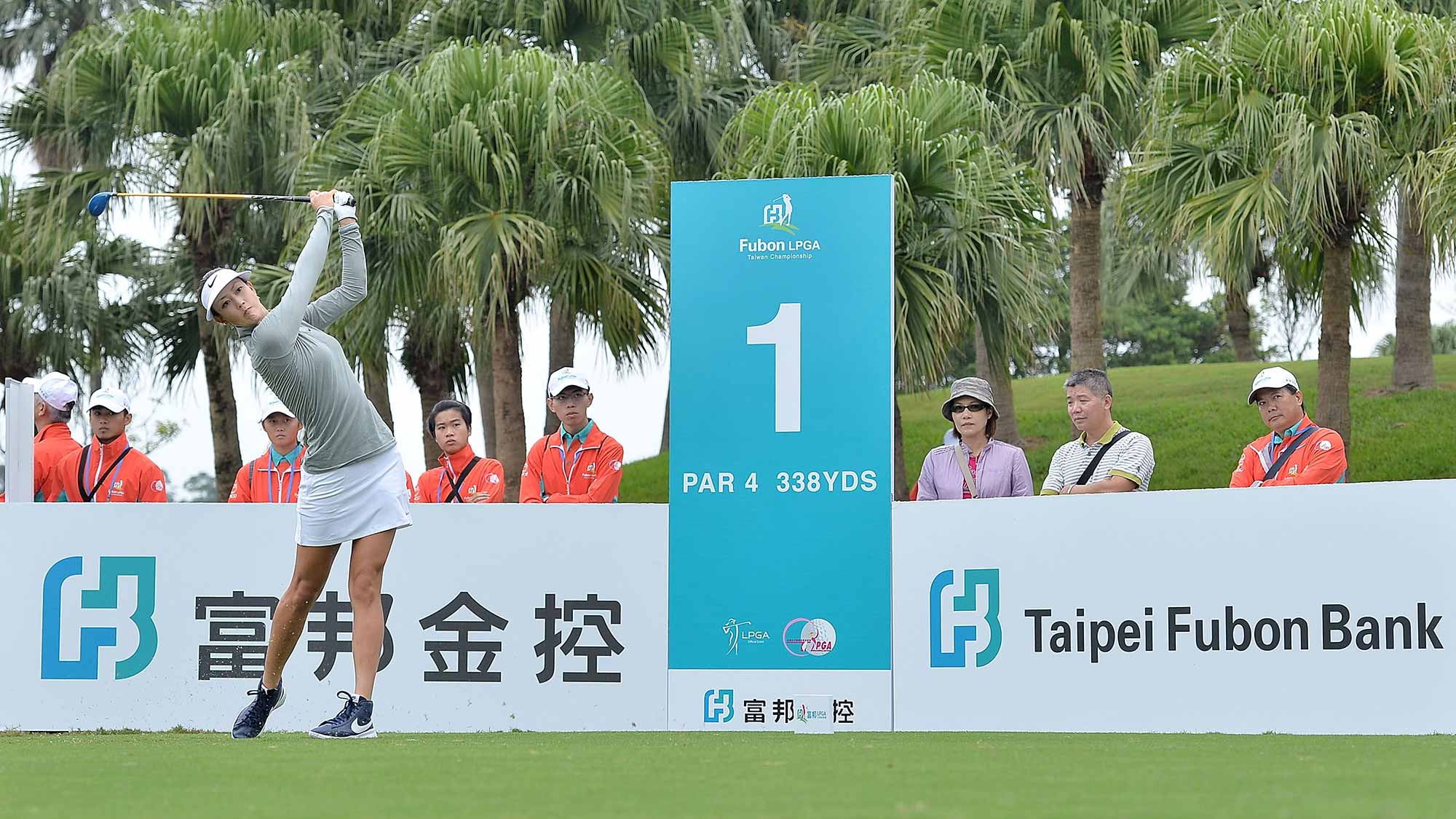 Michelle Wie of the United States plays the shot during the round one of 2015 Fubon LPGA Taiwan Championship at Miramar Golf & Country Club