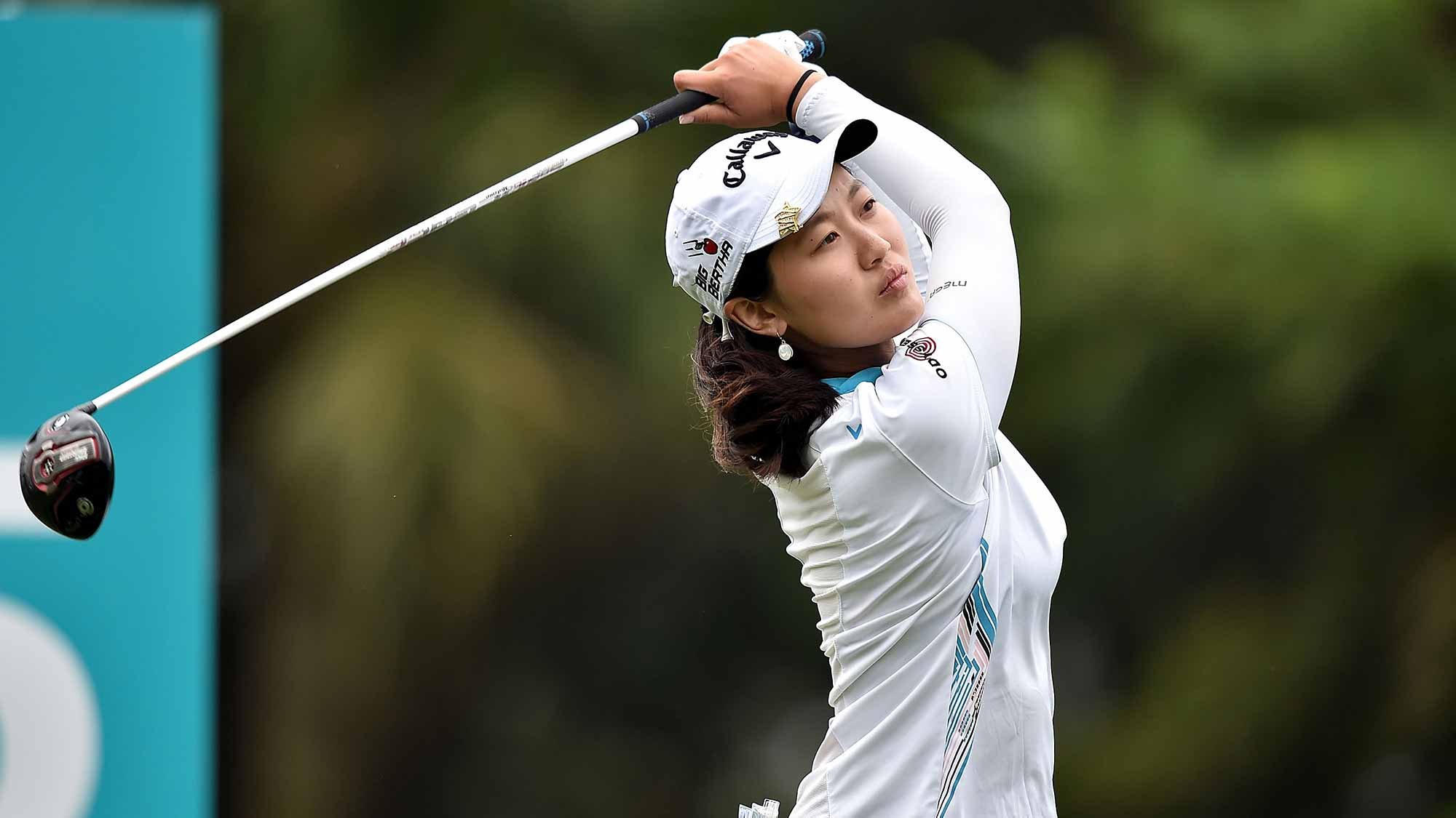 Xi Yu Lin of Republic of China plays the shot during the round one of 2015 Fubon LPGA Taiwan Championship at Miramar Golf & Country Club