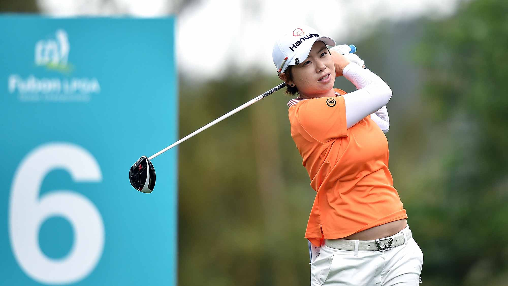 Eun-Hee Ji of South Korea plays a shot during the round second of 2015 Fubon LPGA Taiwan Championship at Miramar Golf Country Club