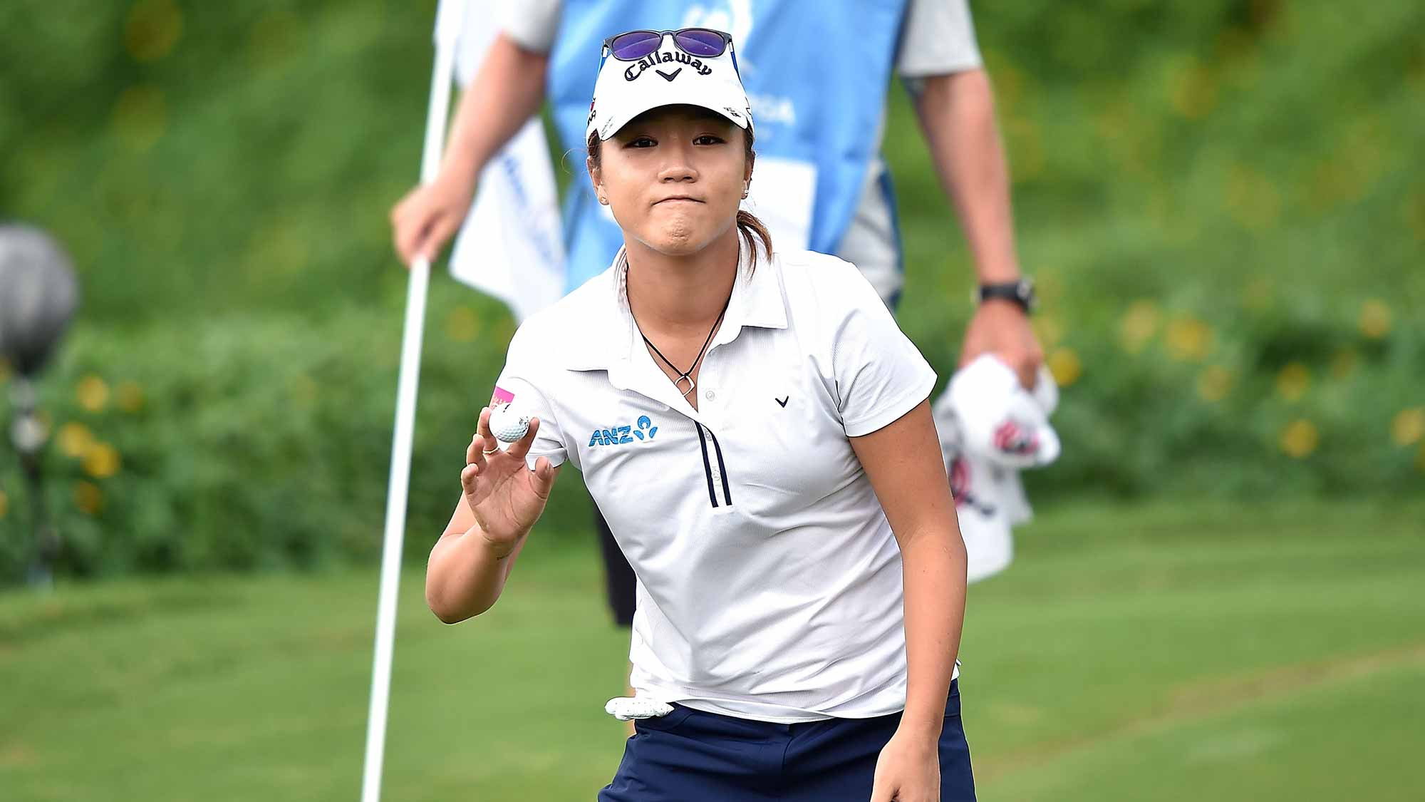 Lydia Ko of New Zealand acknowledges the fans during the second round of 2015 Fubon LPGA Taiwan Championship at Miramar Golf Country Club