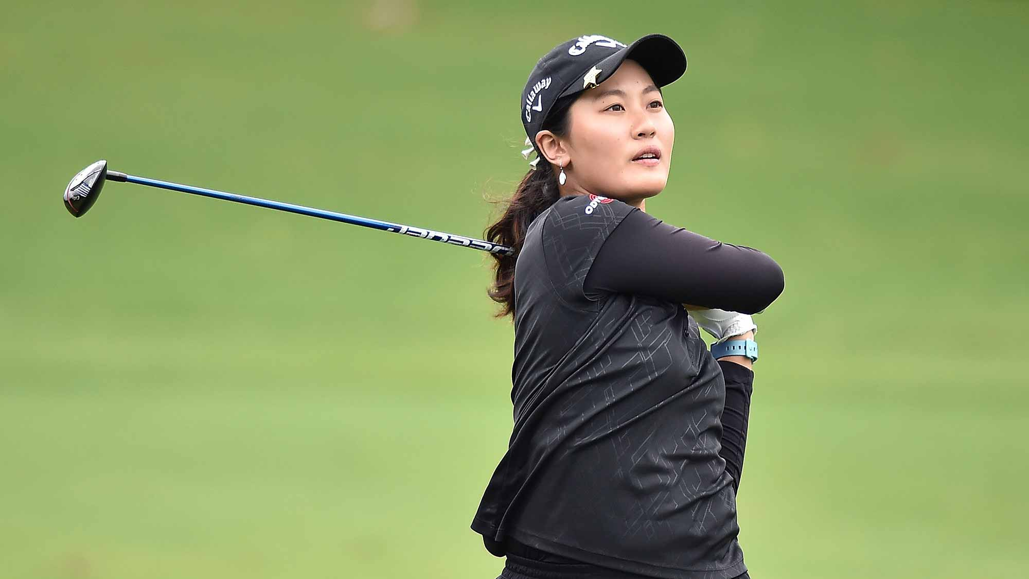 Xi Yu Lin of Republic of China plays a shot during the round second of 2015 Fubon LPGA Taiwan Championship at Miramar Golf Country Club
