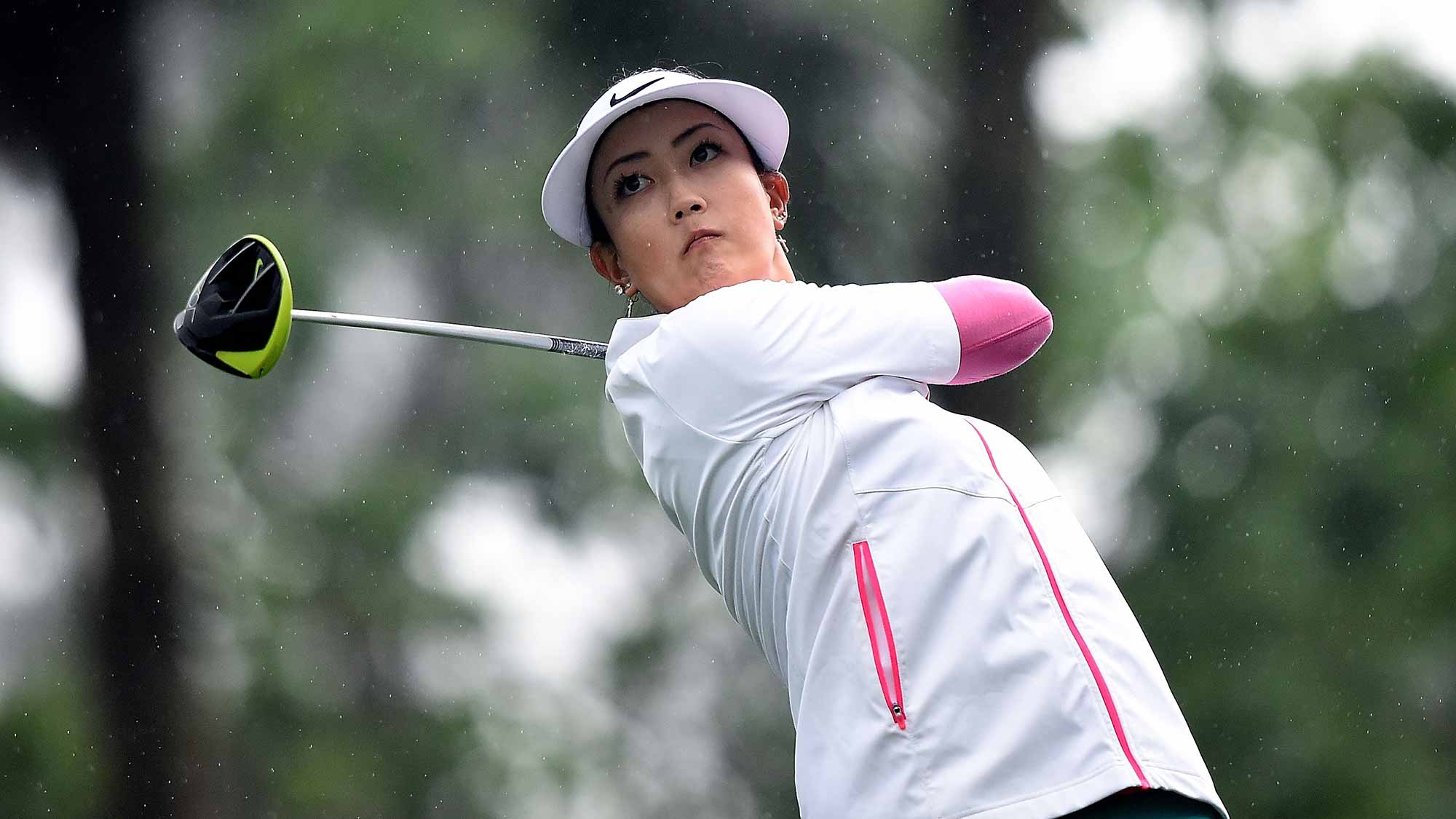 Michelle Wie of the United States plays the shot during the second round of 2015 Fubon LPGA Taiwan Championship at Miramar Golf Country Club