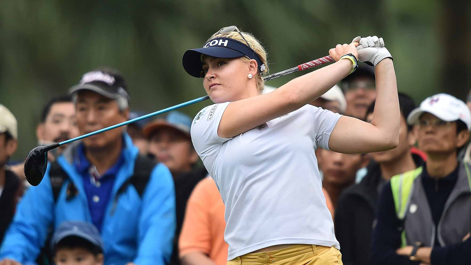 Charley Hull of United Kingdom plays a shot during day three of 2015 Fubon LPGA Taiwan Championship at Miramar Golf Country Club