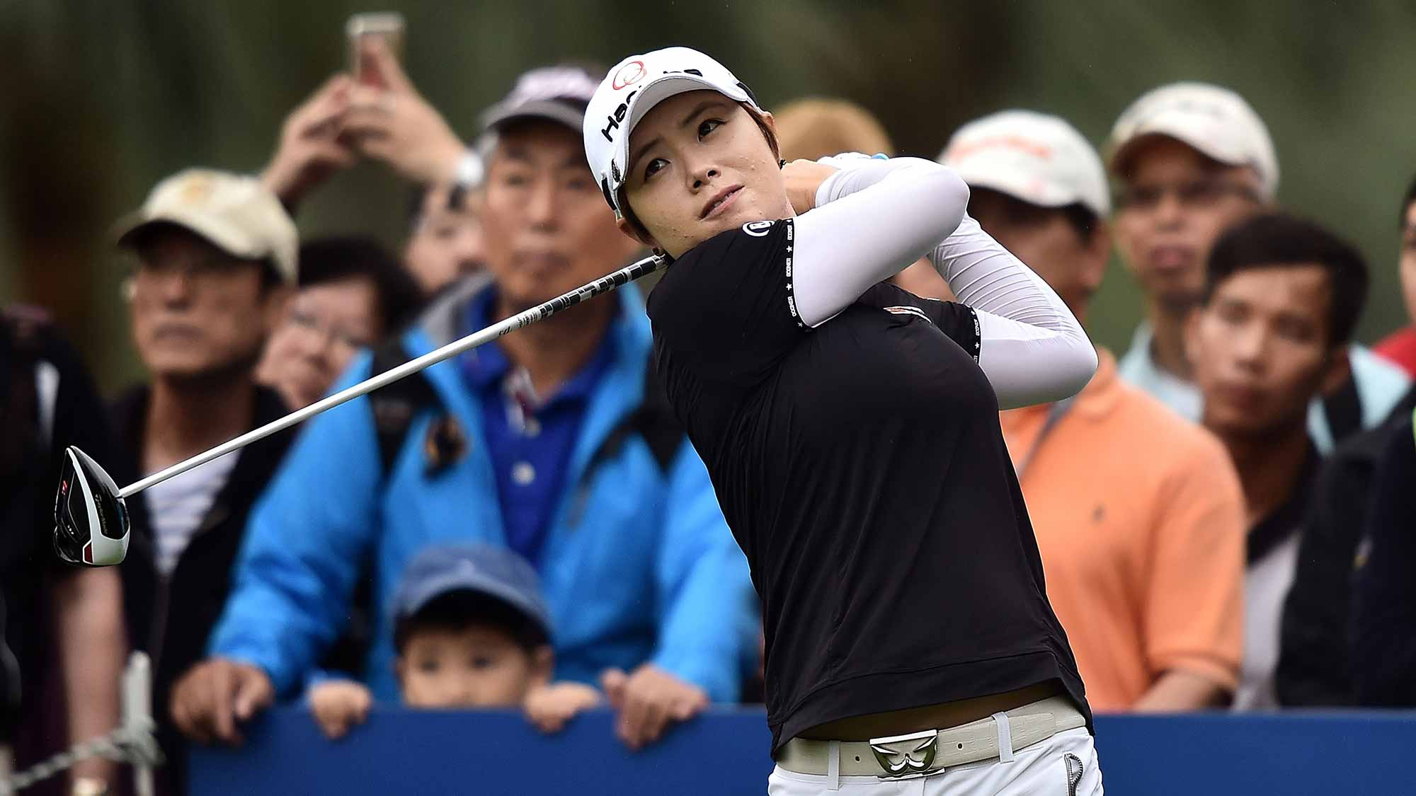 Eun-Hee Ji of South Korea plays a shot during day three of 2015 Fubon LPGA Taiwan Championship at Miramar Golf Country Club