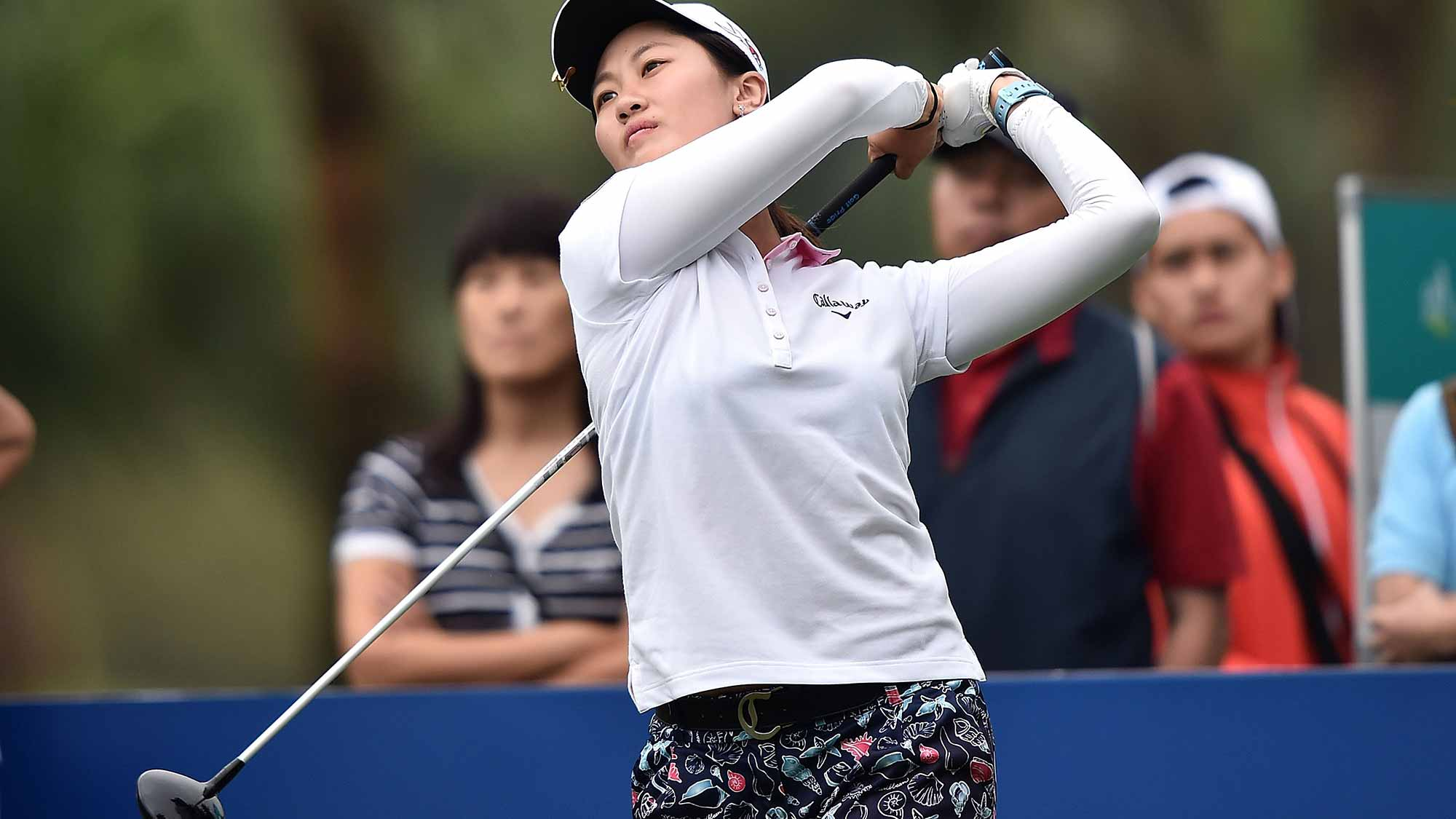Xi Yu Lin of China plays a shot during day three of 2015 Fubon LPGA Taiwan Championship at Miramar Golf Country Club
