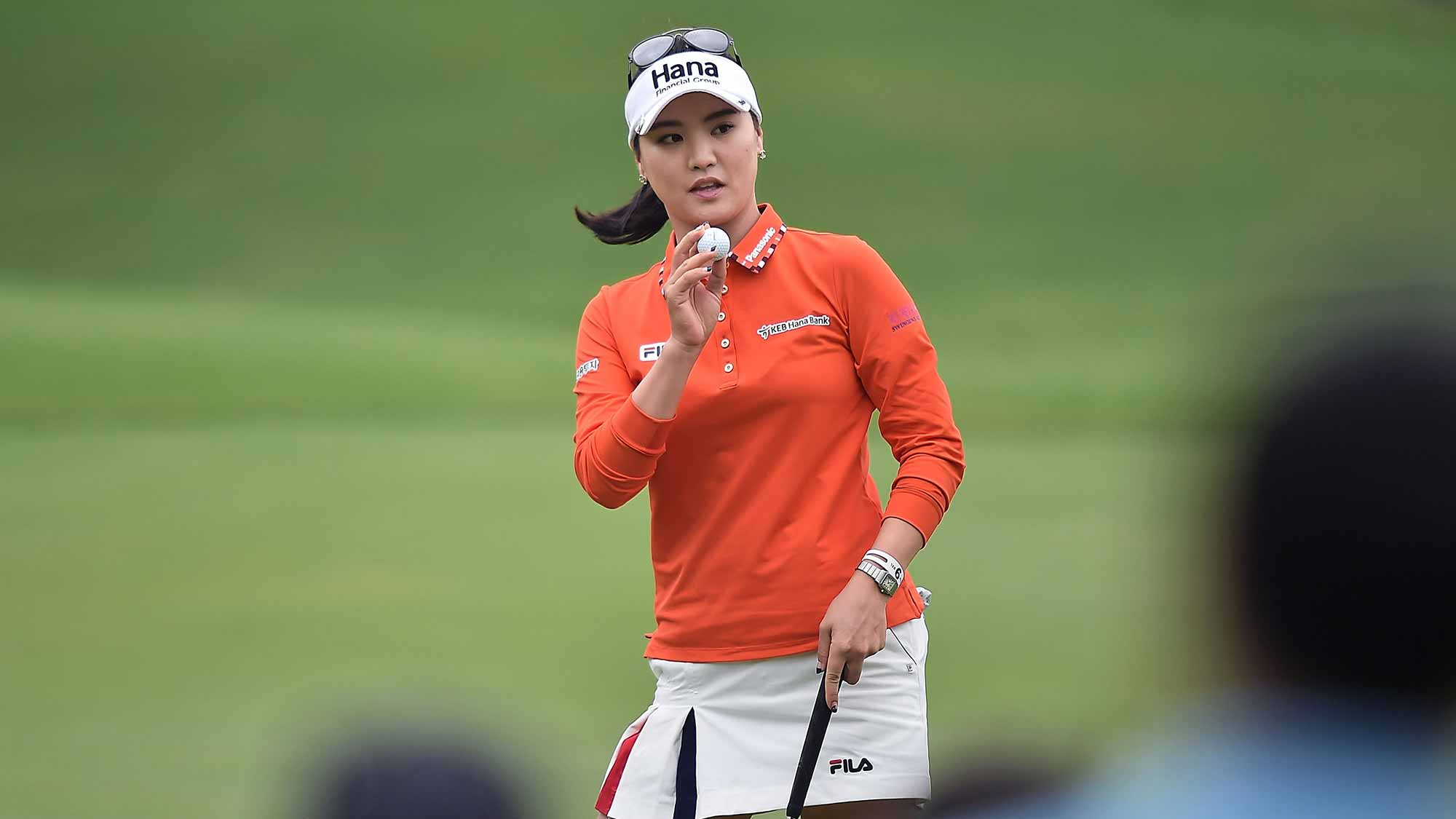 So Yeon Ryu of South Korea acknowledges the fans during day three of 2015 Fubon LPGA Taiwan Championship at Miramar Golf Country Club