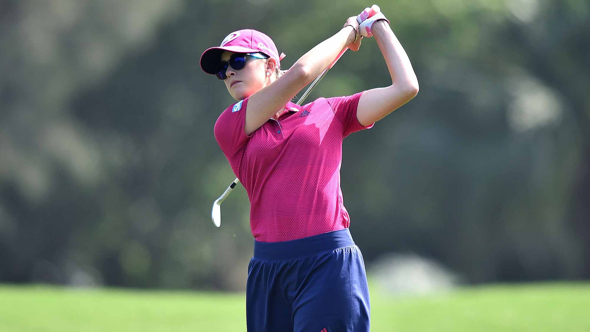 Paula Creamer of the United States plays a shot during the final round of 2015 Fubon LPGA Taiwan Championship on October 25, 2015 in Miramar Resort & Country Club