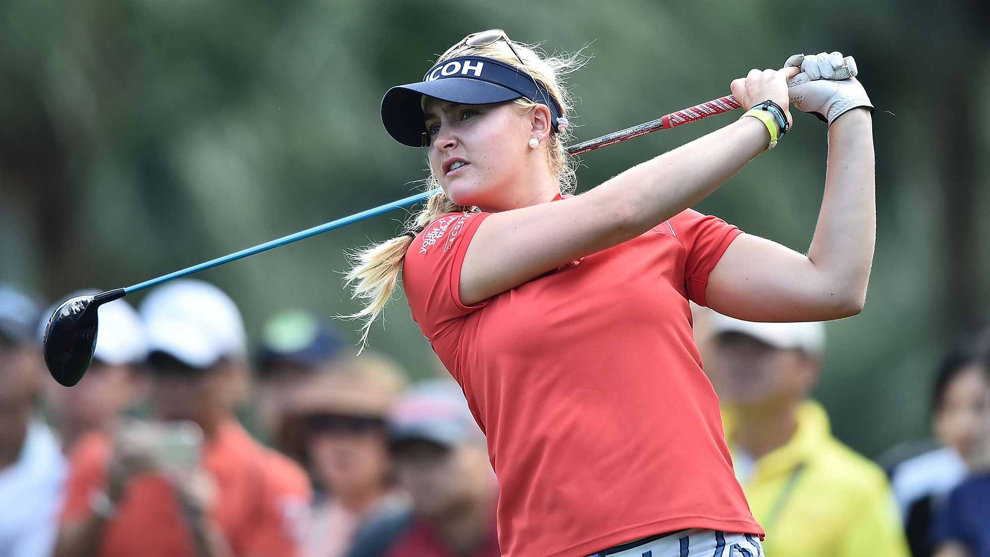 Charley Hull of United Kingdom plays a shot during the final round of 2015 Fubon LPGA Taiwan Championship on October 25, 2015 in Miramar Resort & Country Club
