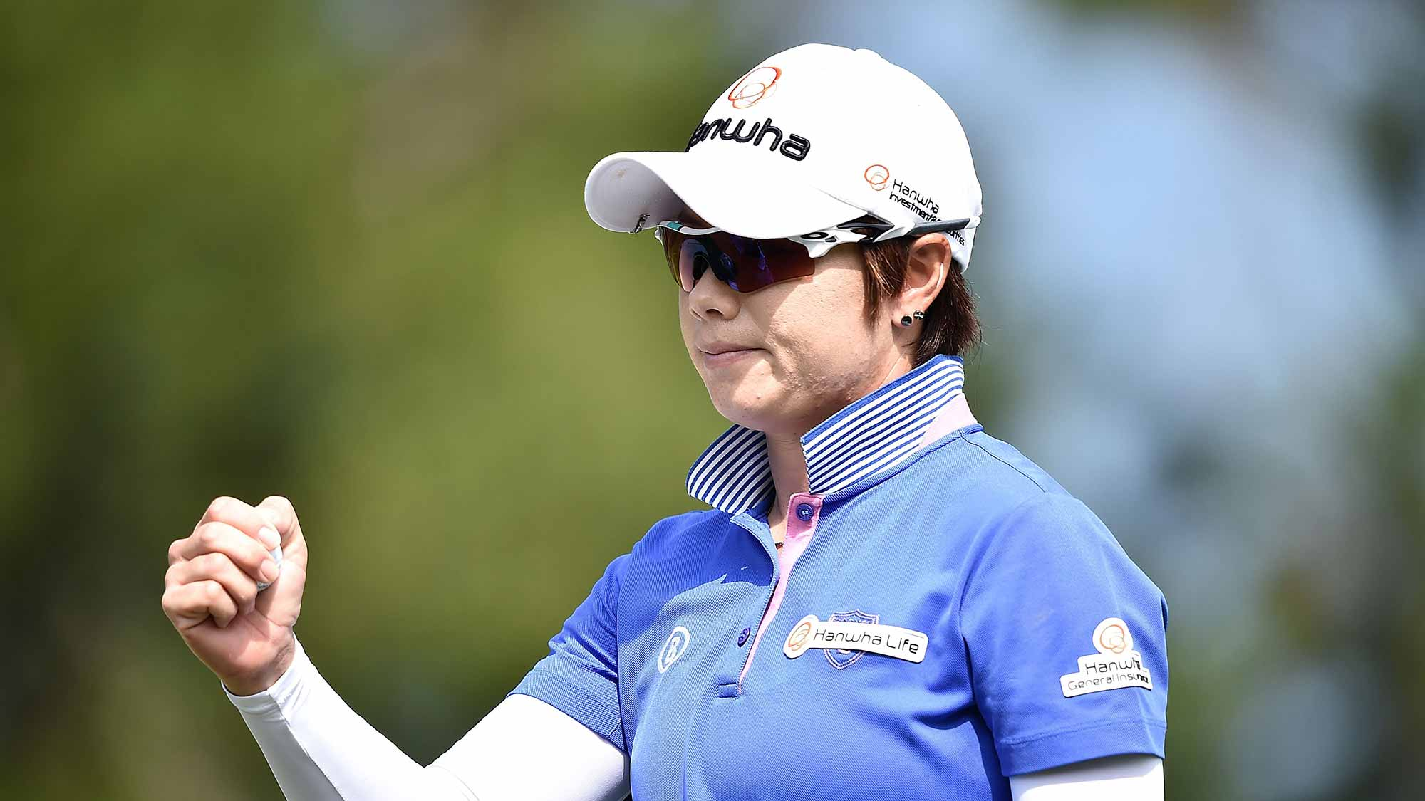 Eun-Hee Ji of South Korea poses during the final round of 2015 Fubon LPGA Taiwan Championship on October 25, 2015 in Miramar Resort & Country Club
