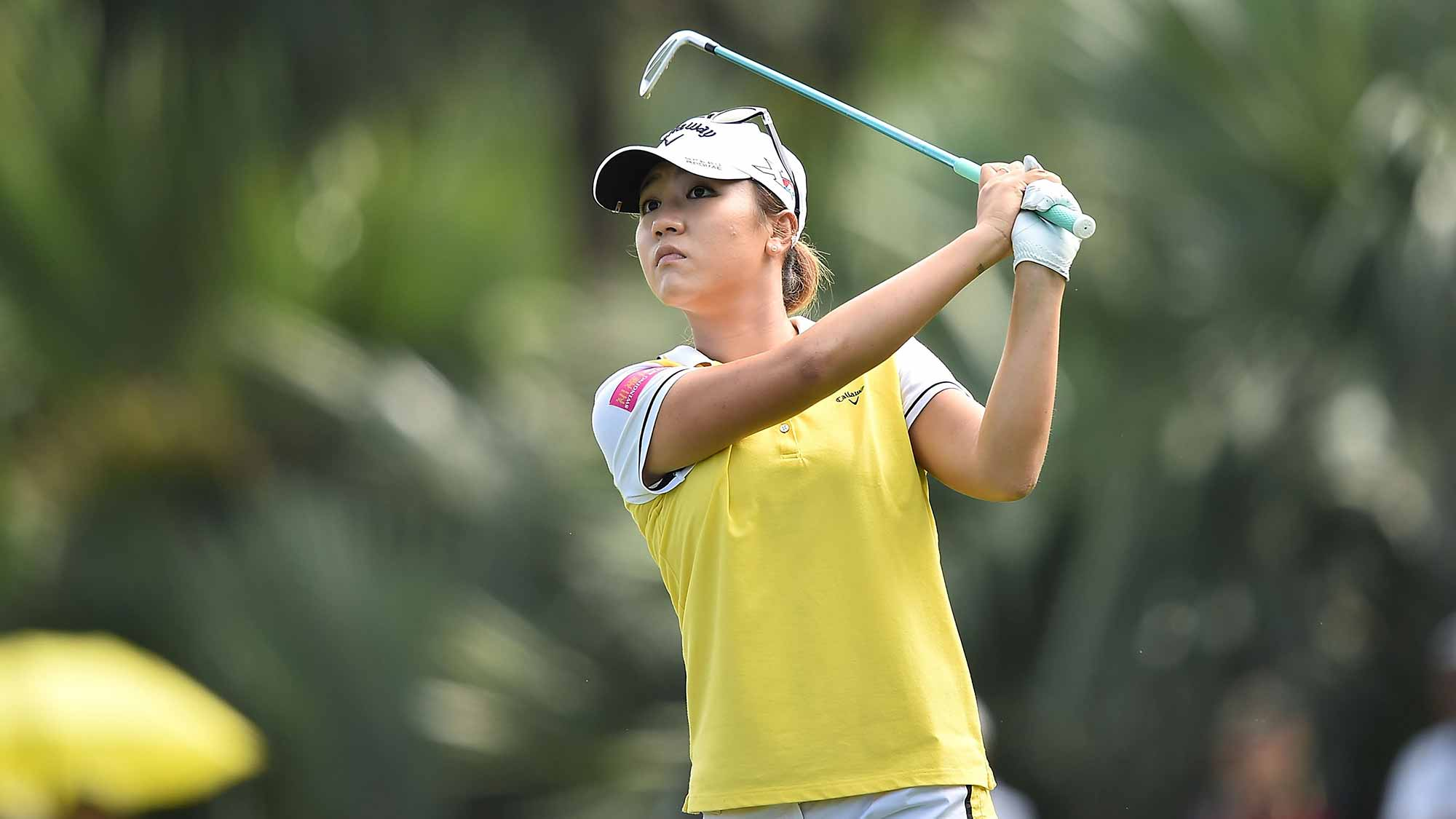Lydia Ko of New Zealand plays a shot during the final round of 2015 Fubon LPGA Taiwan Championship on October 25, 2015 in Miramar Resort & Country Club