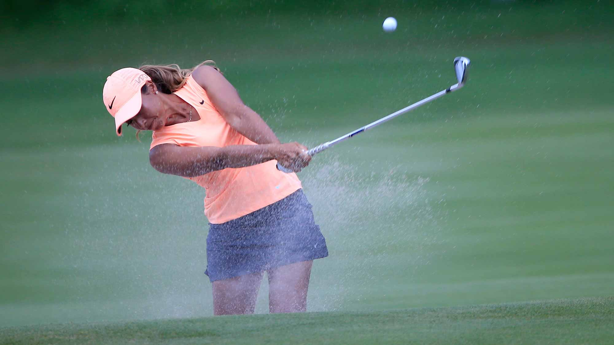 Cheyenne Woods of the United States plays a shot on the seventh hole during the first round of the Walmart NW Arkansas Championship Presented by P&G at Pinnacle Country Club