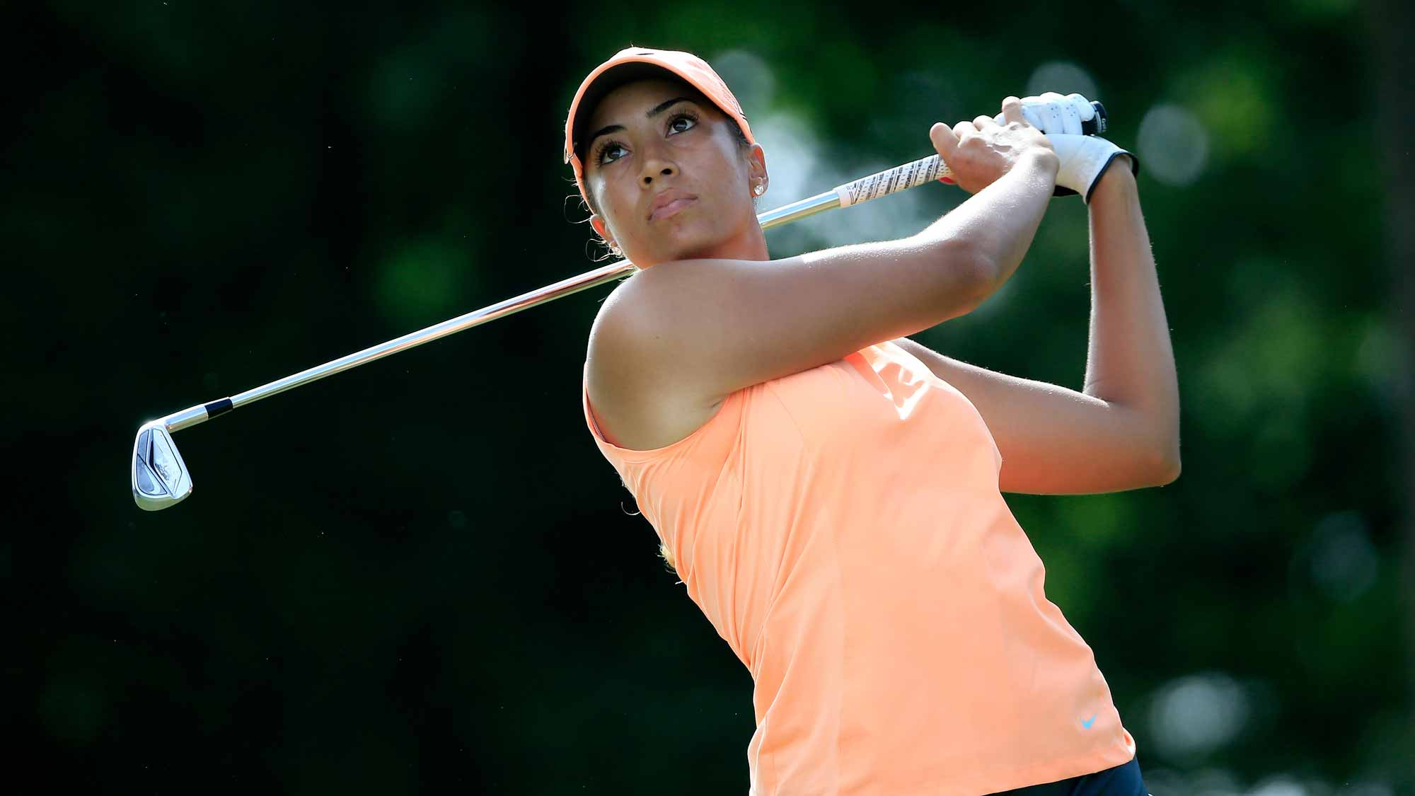 Cheyenne Woods of the United States plays a shot on the third hole during the first round of the Walmart NW Arkansas Championship Presented by P&G at Pinnacle Country Club