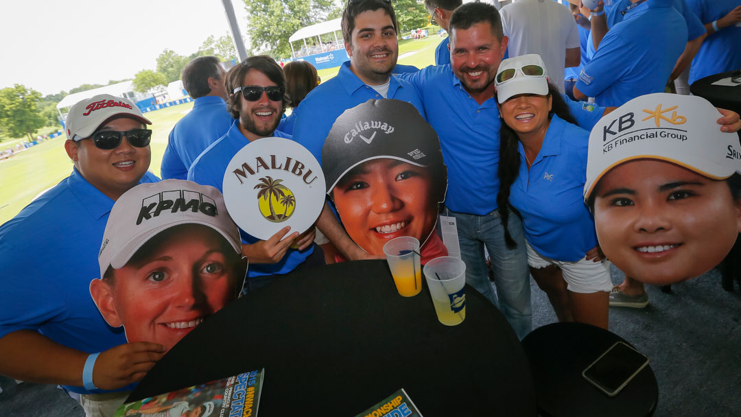 Fans with cutouts of Stacy Lewis, Lydia Ko and Inbee Park at the Gatorade Loudest Hole on Tour