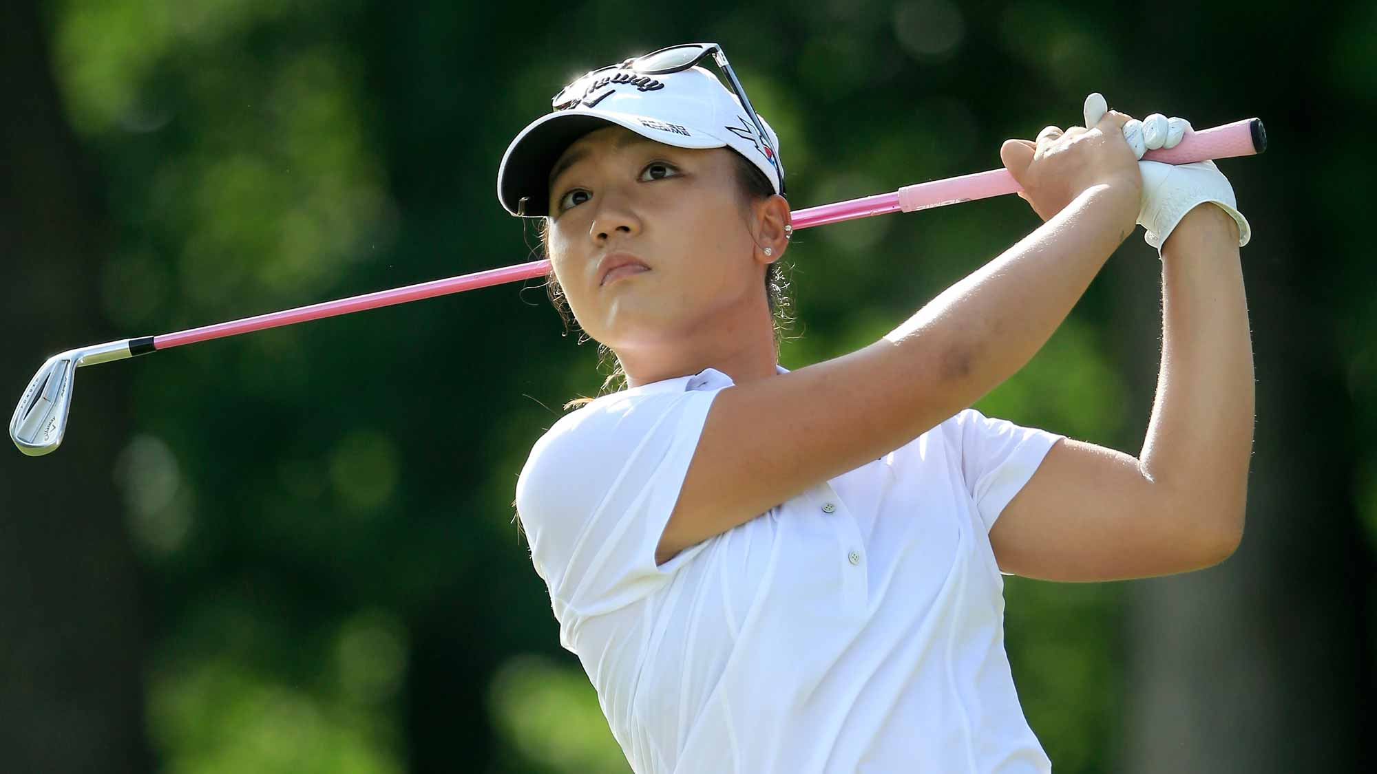 Lydia Ko of New Zealand plays a shot on the third hole during the first round of the Walmart NW Arkansas Championship Presented by P&G at Pinnacle Country Club