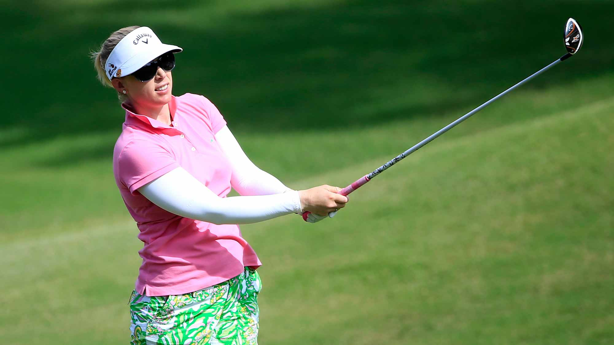 Morgan Pressel of the United States plays a shot on the seventh hole during the first round of the Walmart NW Arkansas Championship Presented by P&G at Pinnacle Country Club