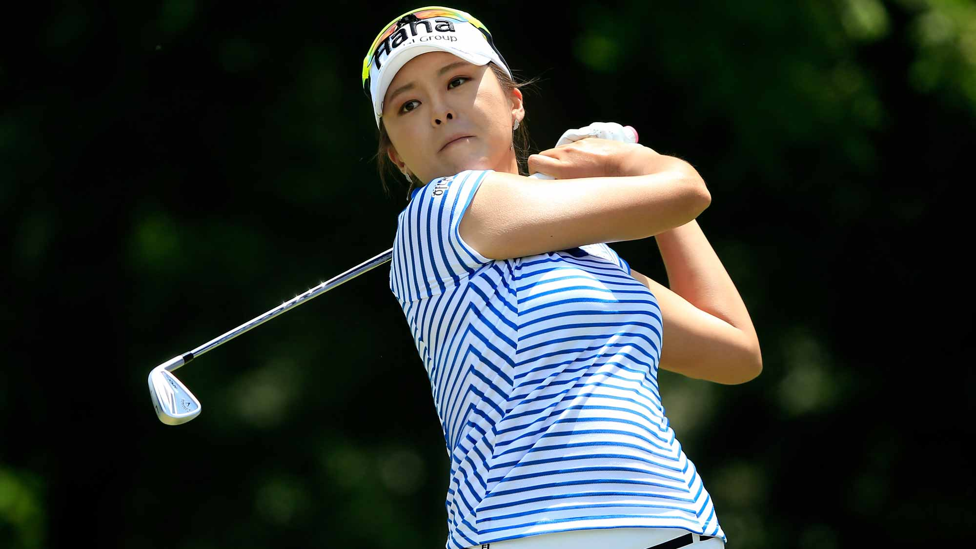 Mi Jung Hur of South Korea plays a shot on the third hole during the second round of the Walmart NW Arkansas Championship Presented by P&G at Pinnacle Country Club
