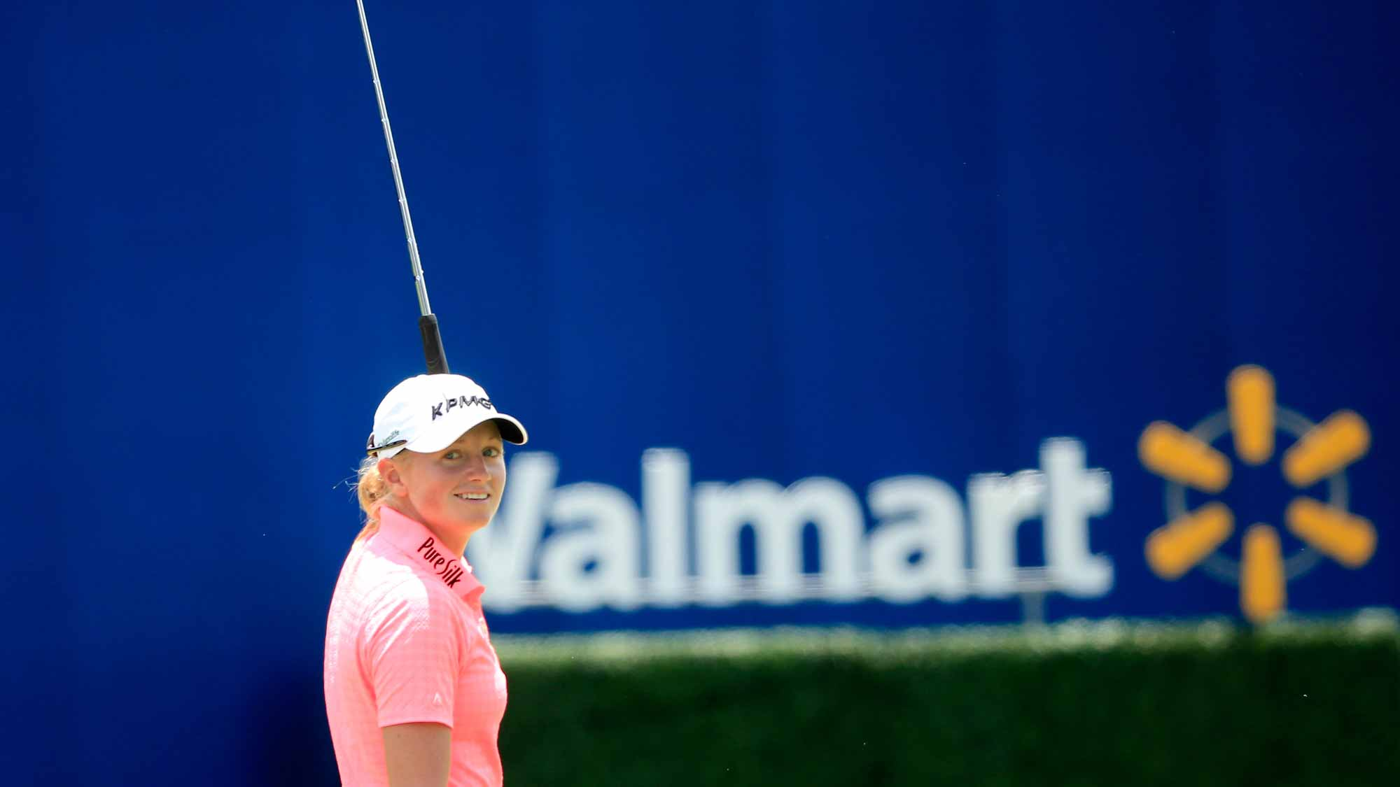 Stacy Lewis of the United States reacts to a birdie on the 17th hole during the second round of the Walmart NW Arkansas Championship Presented by P&G at Pinnacle Country Club