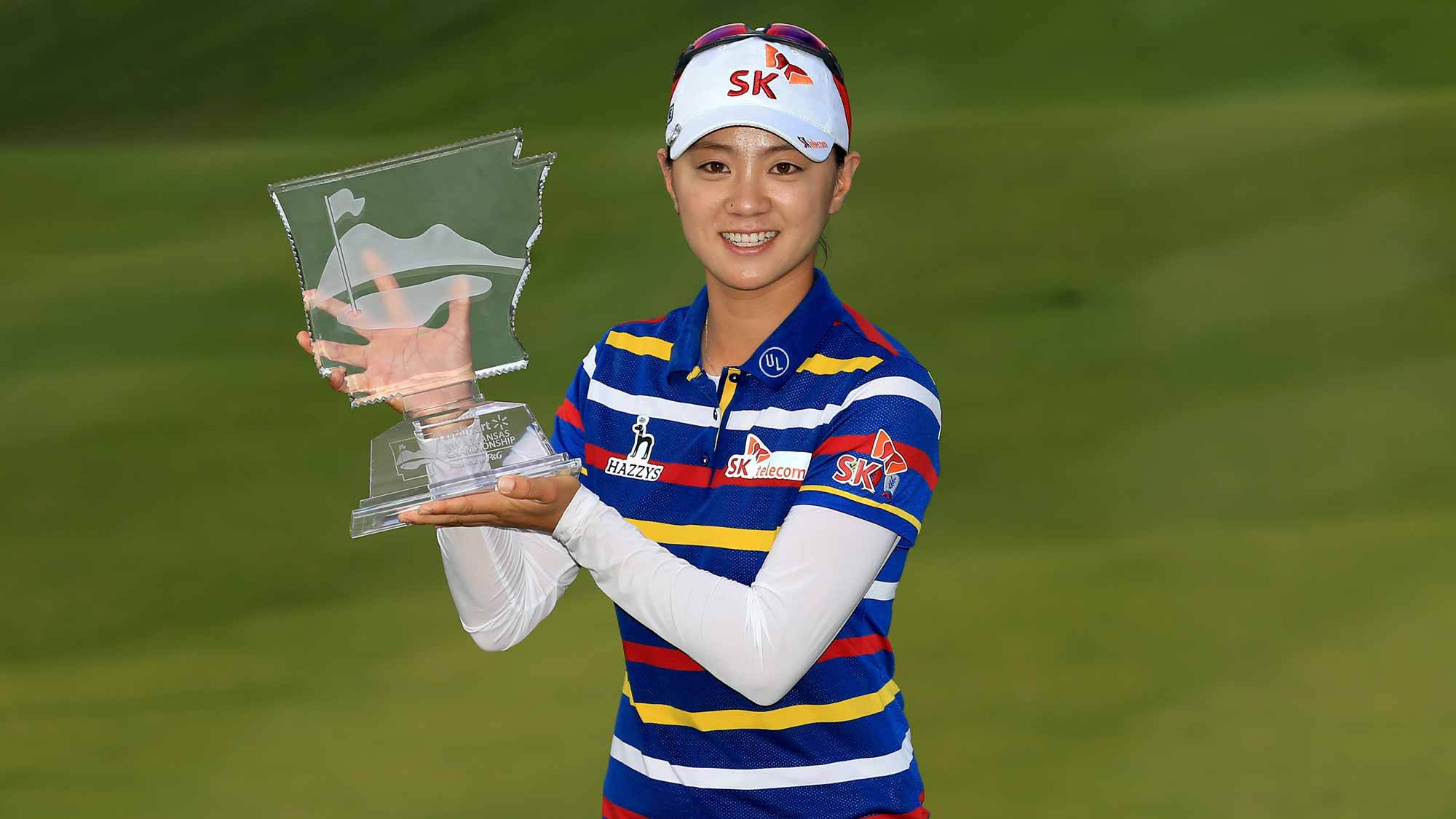 Na Yeon Choi of South Korea poses with the trophy after winning the Walmart NW Arkansas Championship Presented by P&G at Pinnacle Country Club