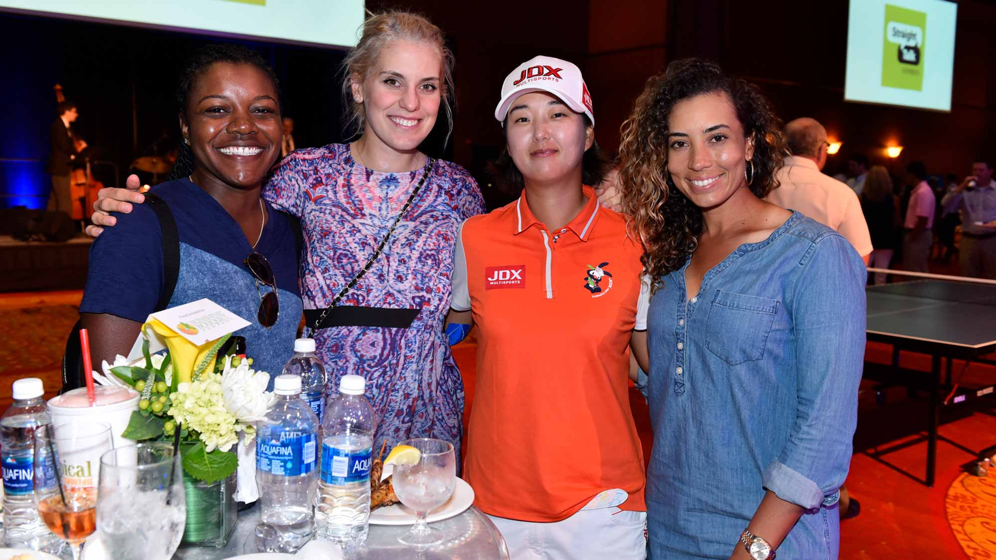 Rookies Mariah Stackhouse and Olafia Kristinsdottir pose for a photo with Min Seo Kwak and Cheyenne Woods at the 2017 Walmart NW Arkansas Championship Presented by P&G