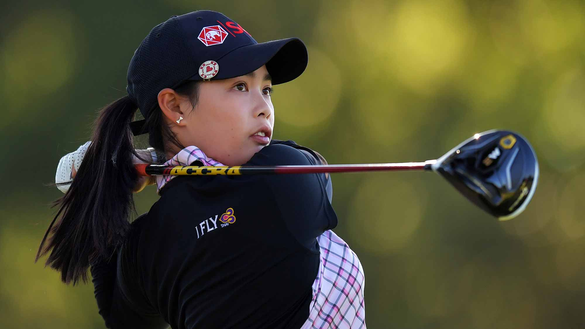 Moriya Jutanugarn of Thailand hits her tee shot on the 16th hole during the second round of the Walmart NW Arkansas Championship Presented by P&G
