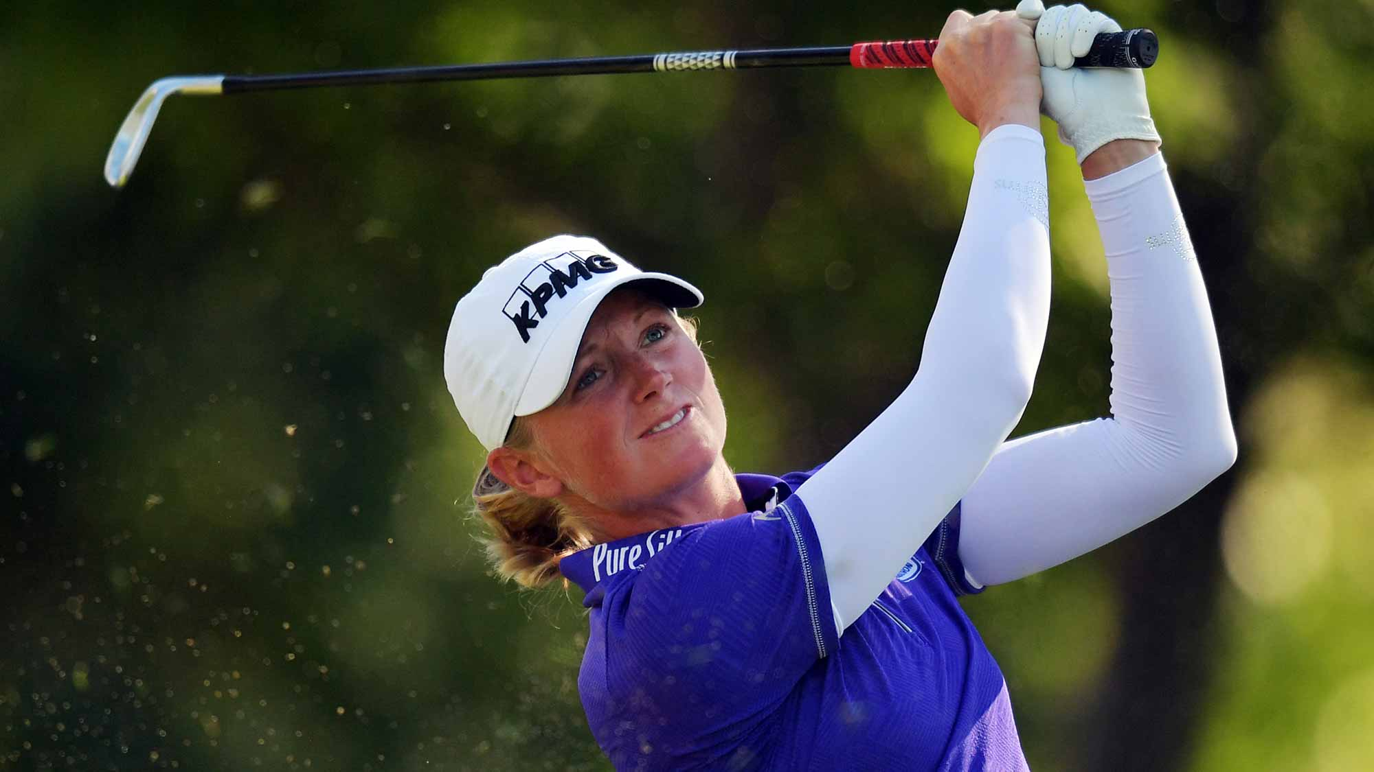 Stacy Lewis hits her tee shot on the 15th hole during the second round of the Walmart NW Arkansas Championship Presented by P&G